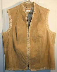 Coldwater Creek Sz 1x Mixed Media Leather And Lace Boho Embroidered Vest W/zipper