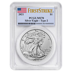 2021 1 Type 2 American Silver Eagle Pcgs Ms70 Fs Flag Label