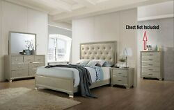 Queen Size Bed 4pc Bedroom Furniture Set Pu And Champagne Button Tufted Headboard