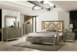 Queen Size Bed 5pc Bedroom Furniture Led Pu And Dark Champagne Padded Headboard