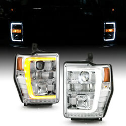 [oled Tube]led Projector Headlamp Pair Set For 08-10 F250 F350 F450 Pickup Truck