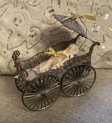 Antique Soft Metal Doll Dollhouse German Baby Carriage With Bisque Doll Detaield