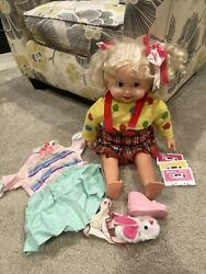 Vtg 1986 Playmates Cricket Talking Doll 2 Original Outfits W/ 3 Cassette Tapes