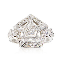 C. 1970 Vintage .55 Ct. T.w. Diamond Star Ring In 14kt White Gold. Size 6.5