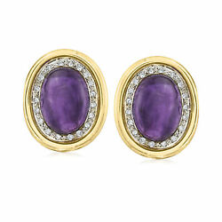 Vintage Amethyst And Diamond Clip-on Earrings In 14kt Gold