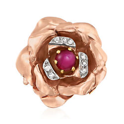 Vintage Ruby Flower Ring With Diamonds In 14kt Tri-colored Gold Size 5.5