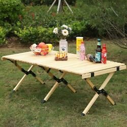 Folding Portable Camping Picnic Wooden Table Foldable Roll Garden Bbq Camp Stove
