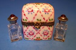 Trunk Diamond Pattern With Bottle Authentic French Limoges Box New
