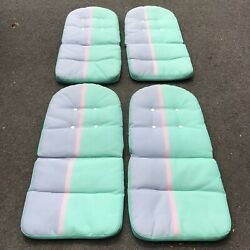 Set Of 4 Vintage Retro Outdoor Furniture Chair Cushions Pads