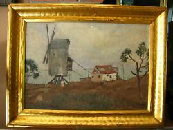 Oil Painting On Board House Beside Ocean Landscapes Artist Signed 1945