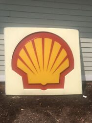 Vintage Shell Oil Gasoline Sign Insert Large 6.5'x7'. Nice Single Sided