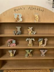 Vintage Winnie The Pooh Display Shelf And China Alphabet Letters
