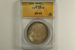 1878 Morgan Dollar 7/8 Strong Tail Feathers Anacs Ms64