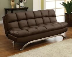 1pc Futon Sofa Upholstered Dark Brown Leatherette Living Room Furniture Couch