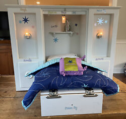 American Girl 3 In 1 Murphy Bed Wardrobe Accessories Pillow Sheets Lights Work