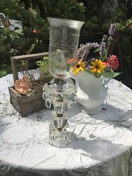 Vintage Victorian Etched Crystal Hurricane Lamp 16 With Prisms