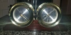 Rare Vintage Jason Empire 6 Ship's Bell Barometer And Hydrometer In Brass/ Wood
