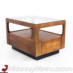 Brown Saltman Mid Century Glass Top Side Table With Drawer - Vintage Mcm