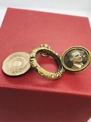 C19th Georgian Gilt Double Sided /opening Photo Locket Pendant Collectible 1820s