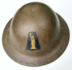 Authentic Wwi Era 77th Infantry Division Statue Of Liberty Helmet Complete Ny