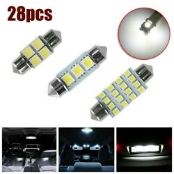 28pcs Car Interior Dome License Plate Map Xenon White Led Light T10 And 36mm Lamp