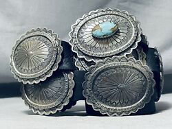 Jessie Thompson Navajo 8 Turquoise Sterling Silver Concho Belt