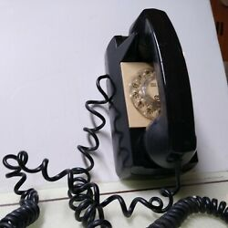 Vintage Gte Black Wall Hanging Dial Rotary Phone