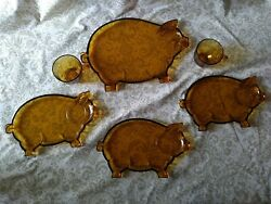 Vintage Indiana Tiara Glass Amber Pig Platter With 3 Snack Plates And 2 Cups