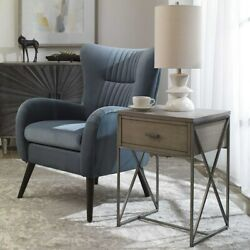Cartwright Industrial Modern 25 Iron Accent End Table Concrete Top Uttermost
