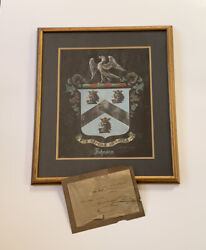 Antique Painting Family Crest Coat Of Arms Johnson Count Rudolf Von Stefenelli