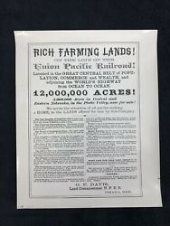 Union Pacific Railroad Ad For Land For Sale In Eastern Nebraska And Platte Valley