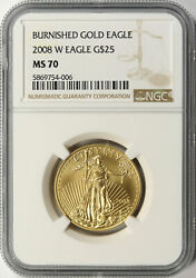2008-w Burnished 25 American Gold Eagle 1/2 Oz Ngc Ms70