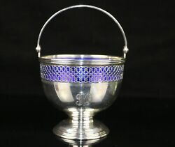 And Co. Sterling Silver Sugar Basket W/ Cobalt Blue Glass Insert 20427