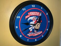 Frostie Root Beer Cola Soda Fountain Bar Kitchen Diner Advertising Clock Sign