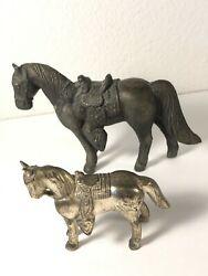 2 Antique Toy Metal Horses Both Pictured Not Sure The Origins, Brands,oruse Neat