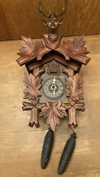 Large Vintage West Germany Hunters Cuckoo Clock For Parts Or Repair 12 X 9 In.