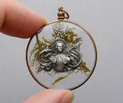 French Antique Religious Large Medal. Saint Joan Of Arc Jeanne Dand039arc. Pendant.