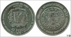 Dominican 10 Weights 1975/inter. Bankersand039 Conference/30 Gr. Silver Ebc Xf