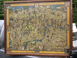 Antique Wonderground Map Of London, 1928, Framed W/ No Glass, Free Shipping