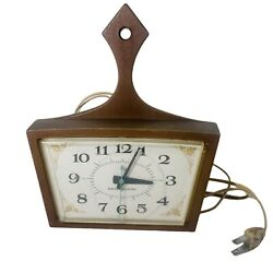 Vintage General Electric Kitchen Wall Clock Plug In Wood Look, Model 2155 Guc