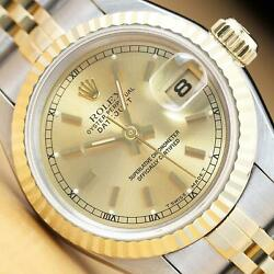 Rolex Ladies Datejust 2 Tone Champagne Dial 18k Yellow Gold And Steel Watch 69173