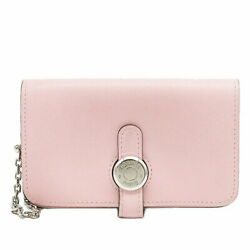 Hermes Dogon With Keychain Card Case Vossift Rose Sakura Pink Business Si _48227