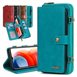 For Moto G Power 2021/g Stylus Leather Strap Stand Card Slots Wallet Case Cover