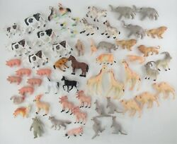 Vintage Mixed Lot Of 56 Hong Kong Small Plastic Animal Toy Farm And Zoo Animals