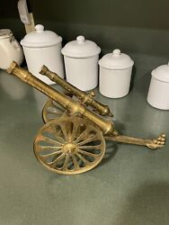 Vintage Brass Double Barrel Cannon With Wheels That Roll
