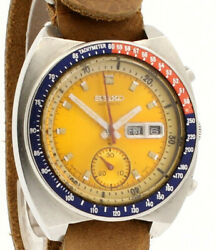 Seiko Pogue Steel Yellow Dial Automatic Chronograph Watch Ref 6139-6005