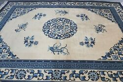 Excellent Chinese Art Deco Peking Hand Knotted Wool Oriental Rug Cleaned 9 X 12