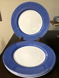 """Nwt Set Of 4 Discontinued Spode Vermicelli Blue Dinner Service Plates 12.5"""""""