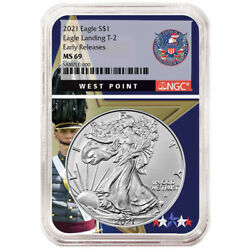 Presale - 2021 1 Type 2 American Silver Eagle Ngc Ms69 Er West Point Core