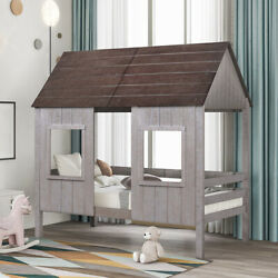 Twin Size Wood Tree House Bed Low Loft Bed W/2 Front Window Kids Teens Playhouse